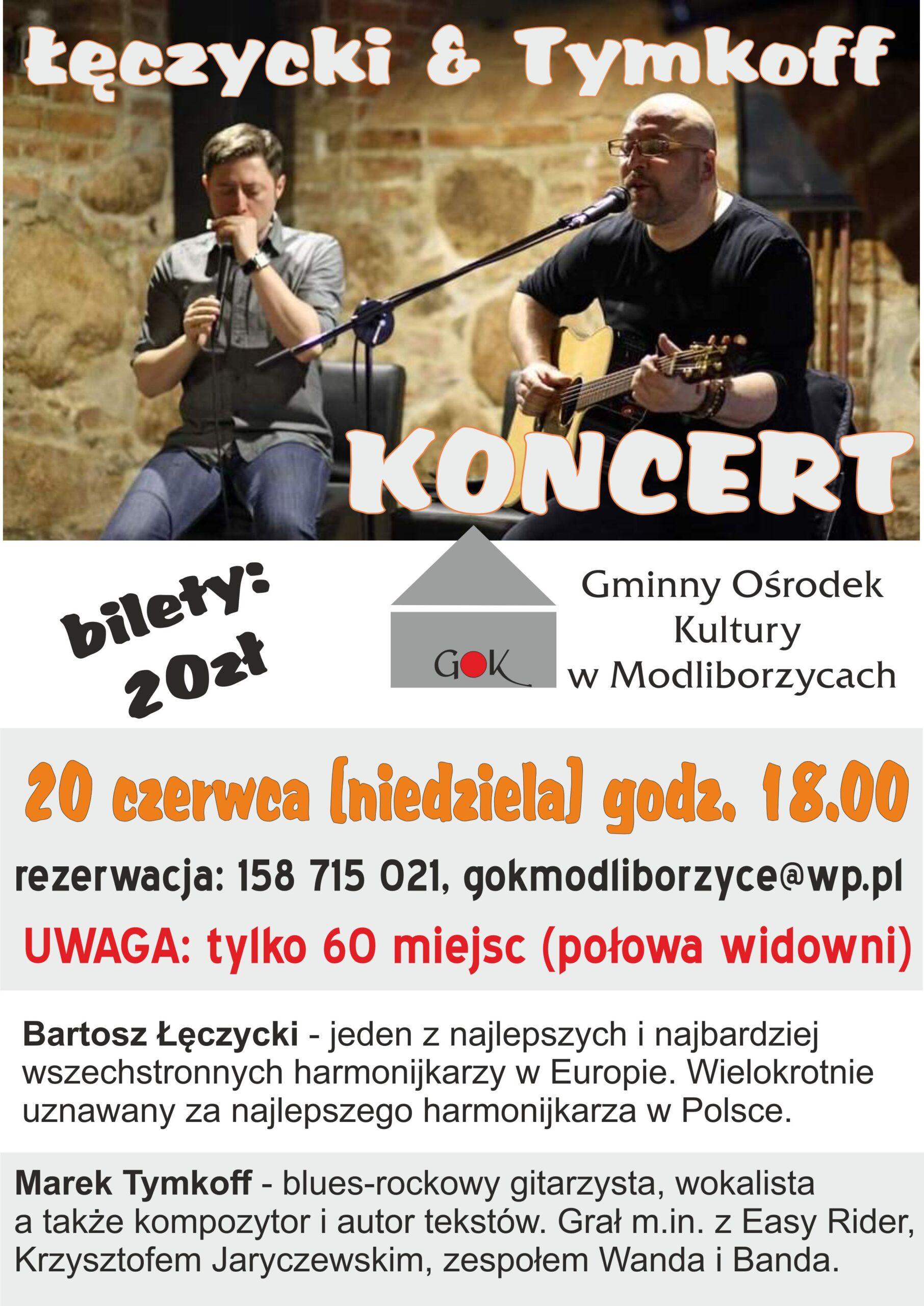 Łęczycki & Tymkoff – koncert w Gminnym Ośrodku Kultury w Modliborzycach